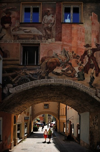 Old graffiti painting of Clemens John Evangelist della Croce, 18th century, at the Tor zu den Grueben gate, Stadtplatz town square, Burghausen, Upper Bavaria, Germany, Europe : Stock Photo