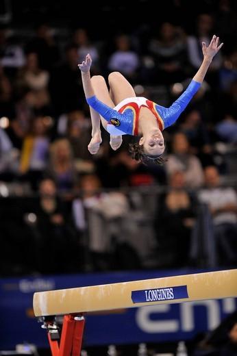 Ana Porgras, Romania, on the balance beam, EnBW Gymnastics World Cup 2009, Porsche_Arena, Stuttgart, Baden_Wuerttemberg, Germany, Europe : Stock Photo