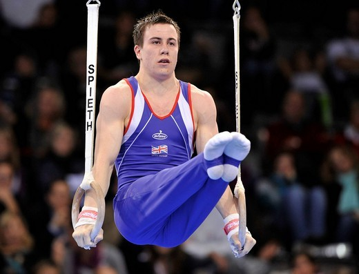 Luke Folwell, Great Britain, on the rings, EnBW Gymnastics World Cup 2009, Porsche_Arena, Stuttgart, Baden_Wuerttemberg, Germany, Europe : Stock Photo