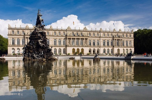 Herrenchiemsee Palace, statues beside a pond, Herreninsel, Gentleman´s Island, Lake Chiemsee, Chiemgau, Upper Bavaria, Germany, Europe : Stock Photo