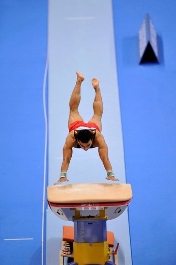 Matthias Fahrig, GER, jumping, EnBW Gymnastics World Cup 2009, Porsche_Arena stadium, Stuttgart, Baden_Wuerttemberg, Germany, Europe : Stock Photo