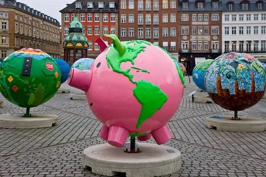 Art globes exhibition in the center of Copenhagen, Denmark, Europe : Stock Photo