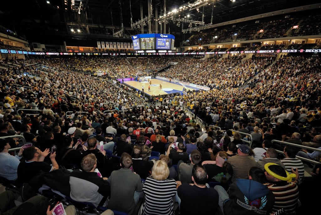 Basketball game of Alba Berlin in the interior of the O2 World, O2 Arena of the Anschutz Entertainment Group, Berlin Friedrichshain, Germany, Europe : Stock Photo