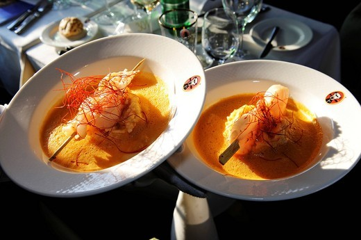 Shrimp with saffron threads, Imperial Dinner Train from Munich to Fuessen, Bavaria, Germany, Europe : Stock Photo