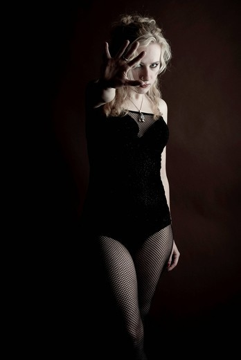 Stock Photo: 1848-441512 Young woman, blond, Gothic style, standing