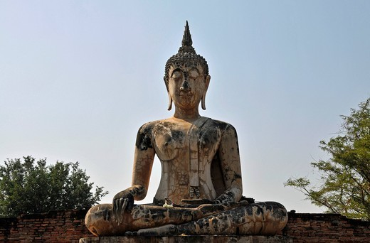 Buddha statue, Bhumispara_mudra, Buddha Gautama in the moment of enlightenment, Wat Mae Chon, Sukhothai Historical Park, Sukhothai, Thailand, Asia : Stock Photo