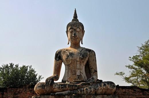 Stock Photo: 1848-441555 Buddha statue, Bhumispara_mudra, Buddha Gautama in the moment of enlightenment, Wat Mae Chon, Sukhothai Historical Park, Sukhothai, Thailand, Asia