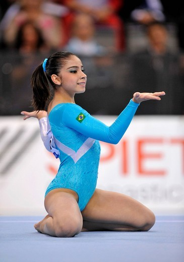 Bruna Leal, Brazil, floor exercise, EnBW Gymnastics World Cup 2009, Porsche_Arena, Stuttgart, Baden_Wuerttemberg, Germany, Europe : Stock Photo