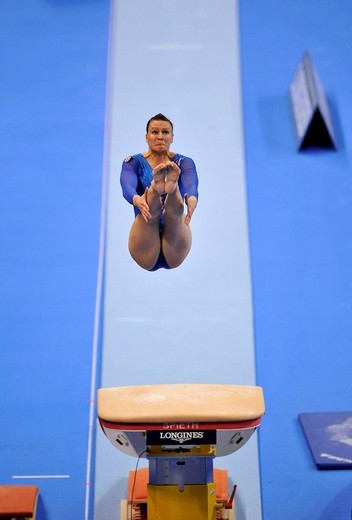 Stock Photo: 1848-441588 Tijana Tkalcec, Croatia, vaulting, EnBW Gymnastics World Cup 2009, Porsche_Arena, Stuttgart, Baden_Wuerttemberg, Germany, Europe