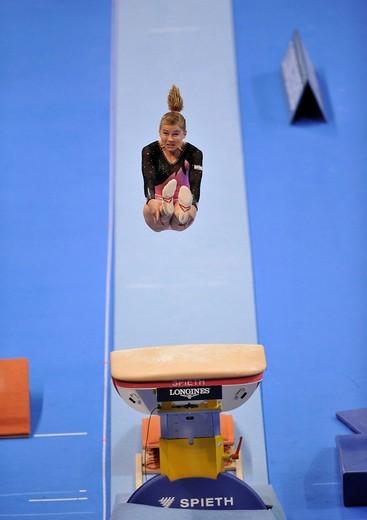 Stock Photo: 1848-441590 Valeria Maksyuta, Israel, vaulting, EnBW Gymnastics World Cup 2009, Porsche_Arena, Stuttgart, Baden_Wuerttemberg, Germany, Europe