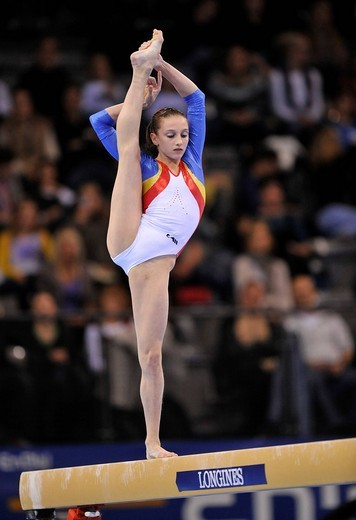 Ana Porgras, Romania, on the balance beam, EnBW Gymnastics World Cup 2009, Porsche_Arena, Stuttgart, Baden_Wuerttemberg, Germany, Europe : Stock Photo