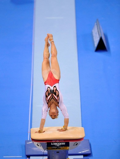 Ariella Kaeslin, Switzerland, vaulting, EnBW Gymnastics World Cup 2009, Porsche_Arena, Stuttgart, Baden_Wuerttemberg, Germany, Europe : Stock Photo