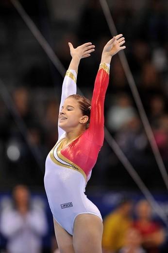 Elizabeth Seitz, Germany, floor exercies, EnBW Gymnastics World Cup 2009, Porsche_Arena, Stuttgart, Baden_Wuerttemberg, Germany, Europe : Stock Photo