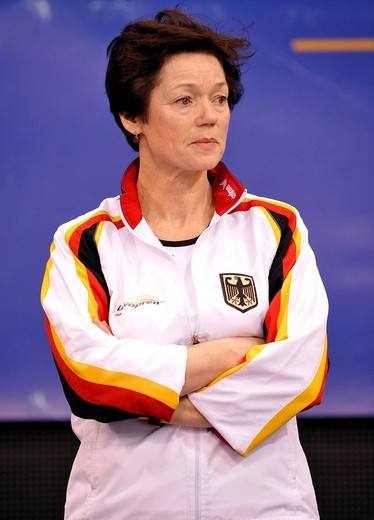 Tamara Khokhlova, coach of Kim Bui, Germany, EnBW Gymnastics World Cup 2009, Porsche_Arena, Stuttgart, Baden_Wuerttemberg, Germany, Europe : Stock Photo