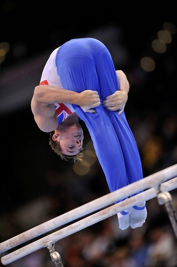 Daniel Keatings, Great Britain, on the high bar, EnBW Gymnastics World Cup 2009, Porsche_Arena, Stuttgart, Baden_Wuerttemberg, Germany, Europe : Stock Photo