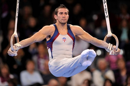 Tommy RAMOS, Puerto Rico, on the rings, EnBW Gymnastics World Cup 2009, Porsche_Arena, Stuttgart, Baden_Wuerttemberg, Germany, Europe : Stock Photo