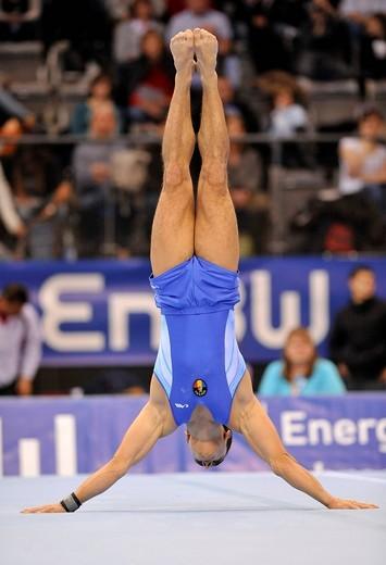 Marian Dragulescu, Romania, floor exercises, EnBW Gymnastics World Cup 2009, Porsche_Arena, Stuttgart, Baden_Wuerttemberg, Germany, Europe : Stock Photo