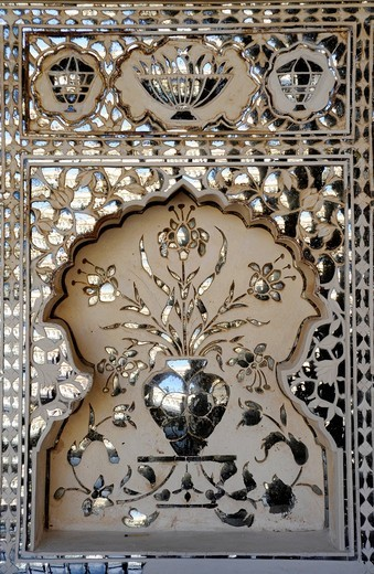 Mirror ornaments on the Hall of Victory, Jai Mandir, Fort of Amber, Amber, near Jaipur, Rajasthan, North India, India, South Asia, Asia : Stock Photo