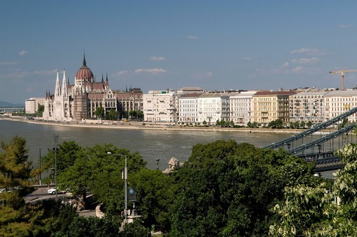View from the Castle Hill on the banks of the Danube river and the Parliament, Budapest, Hungary, Europe : Stock Photo