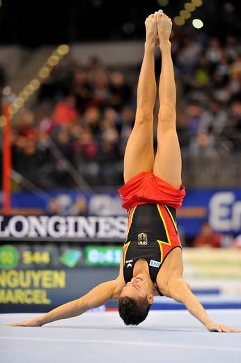 Stock Photo: 1848-441759 Marcel Nguyen, GER, floor exercises, EnBW Gymnastics World Cup 2009, Porsche_Arena stadium, Stuttgart, Baden_Wuerttemberg, Germany, Europe