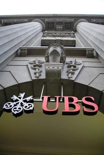 UBS sign, Bahnhofstrasse, Zurich, Switzerland, Europe : Stock Photo