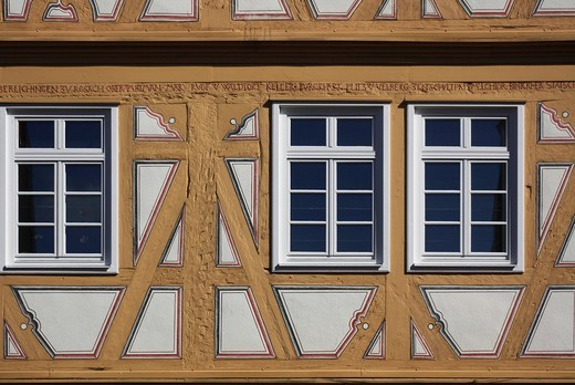 Stock Photo: 1848-442044 Town hall, detail of the half timber, Moeckmuehl, Baden_Wuerttemberg, Germany, Europe
