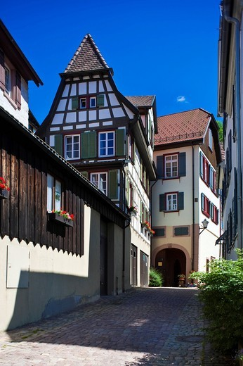 Half timber in the Spitalstrasse street, Schiltach, Black Forest, Baden_Wuerttemberg, Germany, Europe : Stock Photo