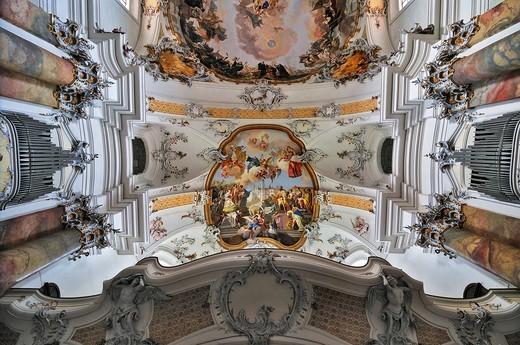 Basilica of the Benedictine Abbey in Ottobeuren, Bavaria, Germany, Europe : Stock Photo