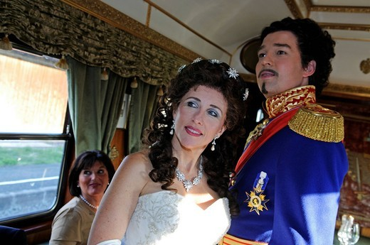 King Ludwig II and Empress Sissi in the Imperial Dinner Train from Munich to Fuessen, Bavaria, Germany, Europe : Stock Photo
