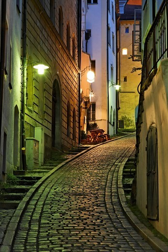 Alley in Old Town of Passau, Lower Bavaria, Germany : Stock Photo