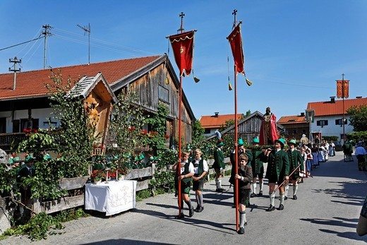 Stock Photo: 1848-442708 Feast of Corpus Christi procession Wackersberg Upper Bavaria Germany