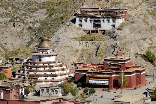 Tibetan Buddhism, Pelkor Chode, Palcho Monastery with the Kumbum stupa, Balkor monastery, Gyantse, Himalayas, Tibet Autonomous Region, People´s Republic of China, Asia : Stock Photo