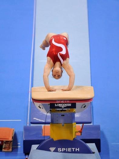 Stock Photo: 1848-442919 Kristin Klarenbach, Canada, vaulting, EnBW Gymnastics World Cup 2009, Porsche_Arena, Stuttgart, Baden_Wuerttemberg, Germany, Europe