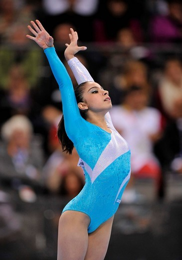Bruna Leal, Brazil, floor exercise, EnBW Gymnastics World Cup 2009, Porsche_Arena, Stuttgart, Baden_Wuerttemberg, Germany, Europe : Stock Photo