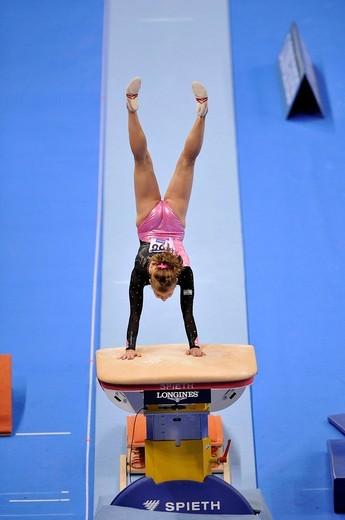 Stock Photo: 1848-442925 Valeria Maksyuta, Israel, vaulting, EnBW Gymnastics World Cup 2009, Porsche_Arena, Stuttgart, Baden_Wuerttemberg, Germany, Europe