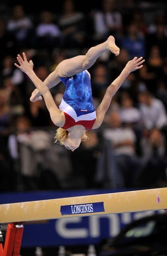 Marlies Rijeken, The Netherlands, on the balance beam, EnBW Gymnastics World Cup 2009, Porsche_Arena, Stuttgart, Baden_Wuerttemberg, Germany, Europe : Stock Photo