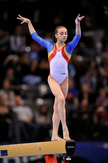 Stock Photo: 1848-442927 Ana Porgras, Romania, on the balance beam, EnBW Gymnastics World Cup 2009, Porsche_Arena, Stuttgart, Baden_Wuerttemberg, Germany, Europe