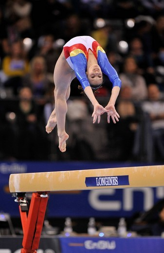 Stock Photo: 1848-442928 Ana Porgras, Romania, on the balance beam, EnBW Gymnastics World Cup 2009, Porsche_Arena, Stuttgart, Baden_Wuerttemberg, Germany, Europe