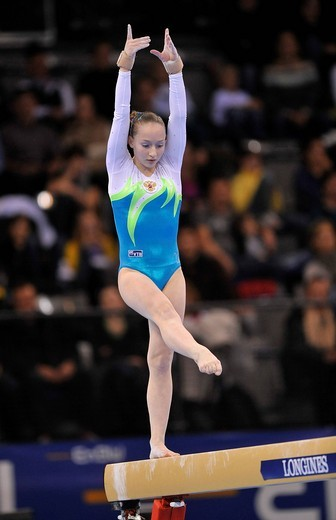 Stock Photo: 1848-442929 Ksenia Semenova, Russia, on the balance beam, EnBW Gymnastics World Cup 2009, Porsche_Arena, Stuttgart, Baden_Wuerttemberg, Germany, Europe