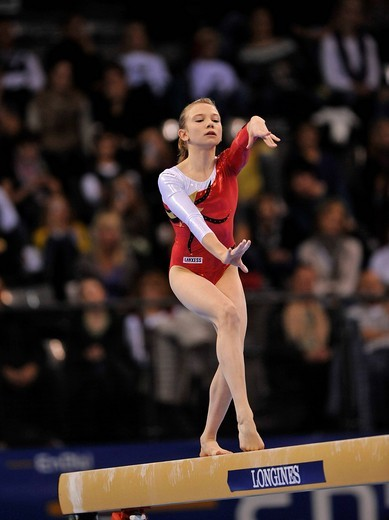 Maike Roll, Germany, on the balance beam, EnBW Gymnastics World Cup 2009, Porsche_Arena, Stuttgart, Baden_Wuerttemberg, Germany, Europe : Stock Photo