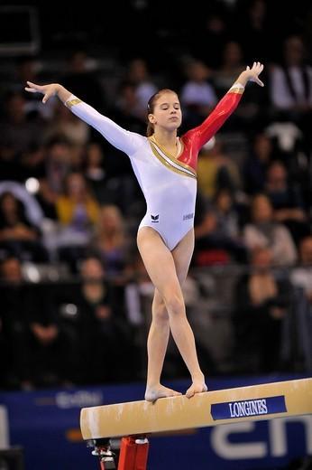 Elizabeth Seitz, Germany, on the balance beam, EnBW Gymnastics World Cup 2009, Porsche_Arena, Stuttgart, Baden_Wuerttemberg, Germany, Europe : Stock Photo