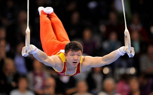 Stock Photo: 1848-442955 Ybing Chen, China, on the rings, EnBW Gymnastics World Cup 2009, Porsche_Arena, Stuttgart, Baden_Wuerttemberg, Germany, Europe