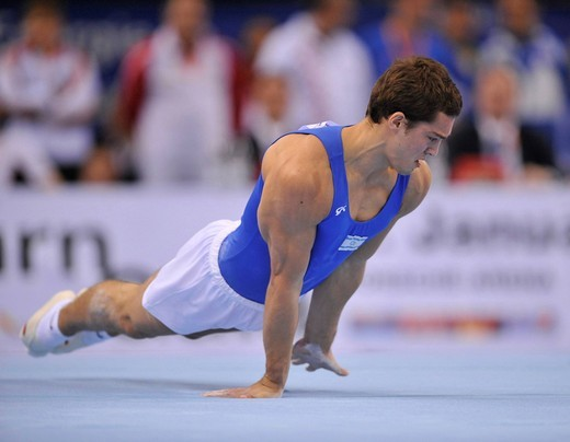 Alex Shatilov, Israel, floor exercises, EnBW Gymnastics World Cup 2009, Porsche_Arena, Stuttgart, Baden_Wuerttemberg, Germany, Europe : Stock Photo
