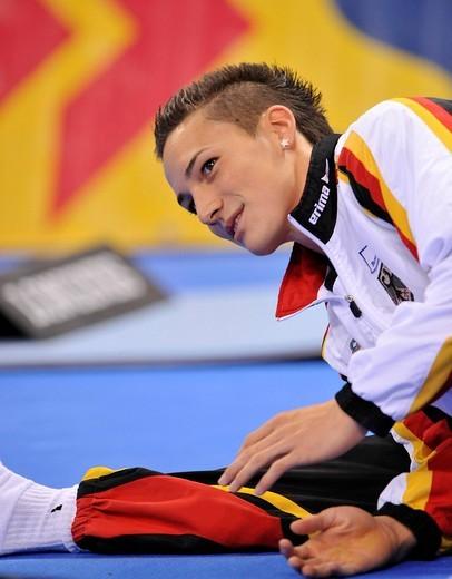 Marcel Nguyen, GER, warming up, EnBW Gymnastics World Cup 2009, Porsche_Arena stadium, Stuttgart, Baden_Wuerttemberg, Germany, Europe : Stock Photo