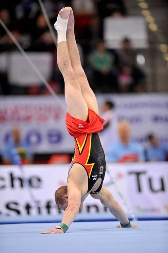 Stock Photo: 1848-443145 Fabian Hambuechen, GER, floor exercises, EnBW Gymnastics World Cup 2009, Porsche_Arena stadium, Stuttgart, Baden_Wuerttemberg, Germany, Europe