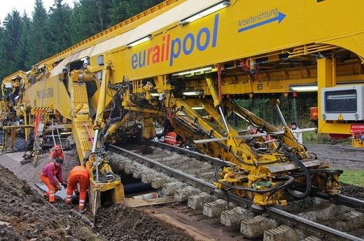 Stock Photo: 1848-443175 A track_laying machine renovating the track bed of a railway line, Germany, Europe
