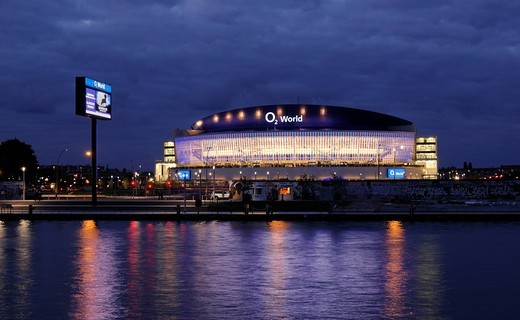 Stock Photo: 1848-443297 O2 World, with Spree river and East Side Gallery, O2 Arena of the Anschutz Entertainment Group, Berlin Friedrichshain, Germany, Europe