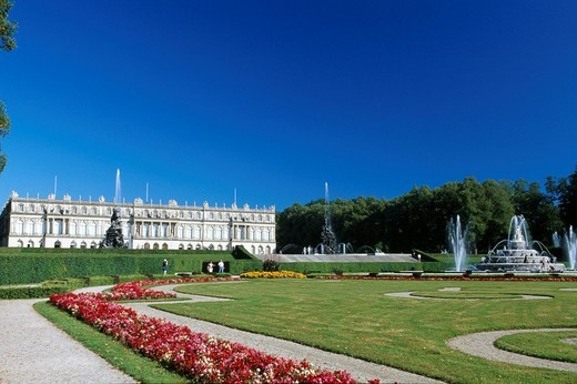 Herrenchiemsee Palace, Lake Chiemsee, Chiemgau, Bavaria, Germany, Europe : Stock Photo