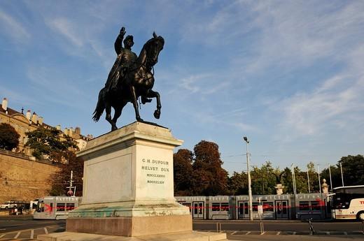 Dufour equestrian statue, Geneva, Canton Vaud, Switzerland, Europe : Stock Photo