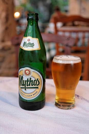 Greek beer Mythos, Crete, Greece : Stock Photo